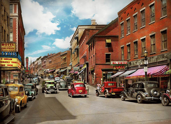 Photograph - City - Brattleboro Vt - No Parking On Main St 1941 by Mike Savad