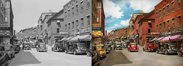 Photograph - City - Brattleboro Vt - No Parking On Main St 1941 - Side By Side by Mike Savad