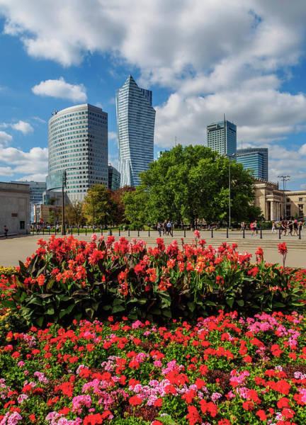 Wall Art - Photograph - City Center Skyscrapers Warsaw Masovian Voivodeship Poland by imageBROKER - Karol Kozlowski