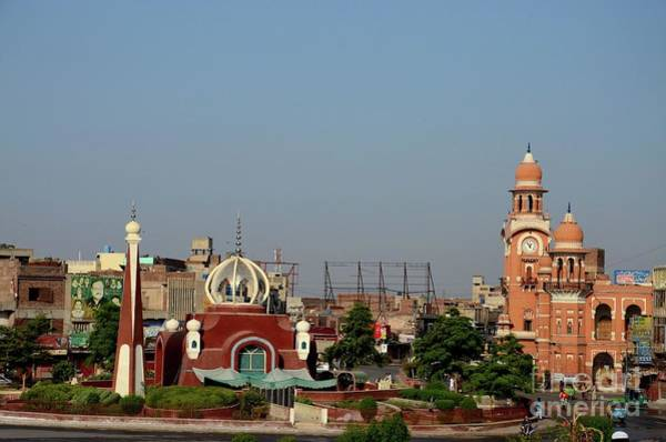 Photograph - City Center With Clock Tower And Contemporary Mosque At Roundabout Multan Pakistan by Imran Ahmed