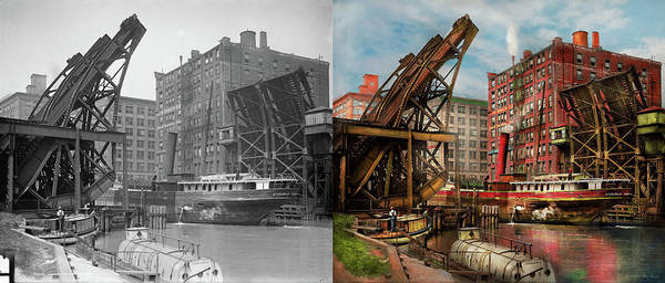 Photograph - City - Chicago Il - Jacked Up 1907 - Side By Side by Mike Savad