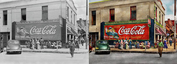 Photograph - City - Greensboro Ga - Hunter's Drug Store 1939 - Side By Side by Mike Savad