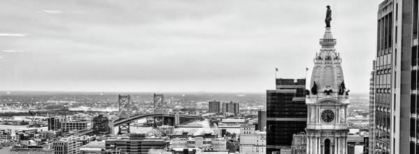 Wall Art - Photograph - City Hall Tower In Black And White - Philadelphia Panorama by Bill Cannon
