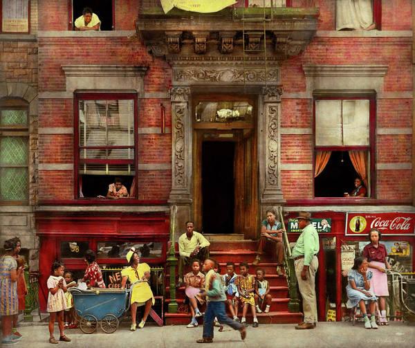 Photograph - City - Harlem Ny - Stoop Life 1935 by Mike Savad