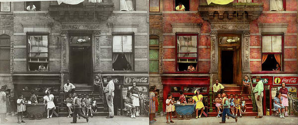 Photograph - City - Harlem Ny - Stoop Life 1935 - Side By Side by Mike Savad