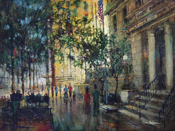 Wall Art - Painting - City In The Summer by Dan Nelson