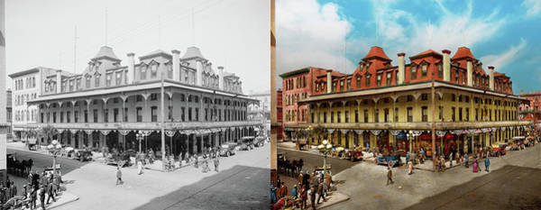 Photograph - City - Jacksonville Fl - The New Duval Hotel 1910 - Side By Side by Mike Savad