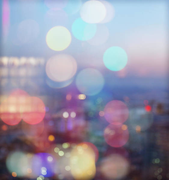 Street Photograph - City Lights Background At Dawn by Gregor Schuster