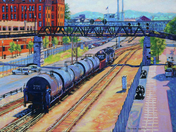 Wall Art - Painting - City Lines - Norfolk Southern Tracks In Roanoke Virginia by Bonnie Mason