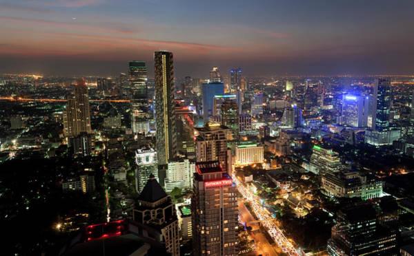 Wall Art - Photograph - City Lit Up At Night, Bangkok, Thailand by Panoramic Images