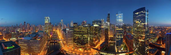 Wall Art - Photograph - City Lit Up At Night, Chicago, Cook by Panoramic Images