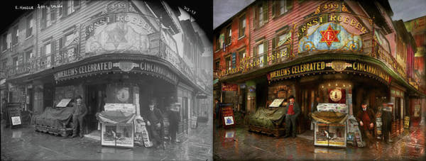 Wall Art - Photograph - City - Ny - Ernest Roeber's Cafe 1908 - Side By Side by Mike Savad