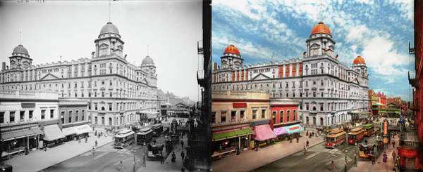 Photograph - City - Ny - The Short Lived Grand Central 1900 - Side By Side by Mike Savad