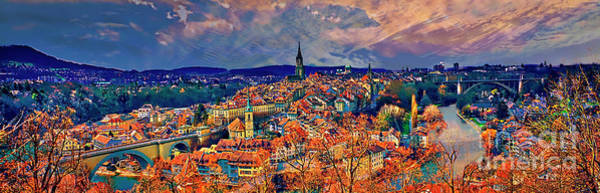 Photograph - City Of Bern Riverfront From Rose Garden Switzerland by Tom Jelen