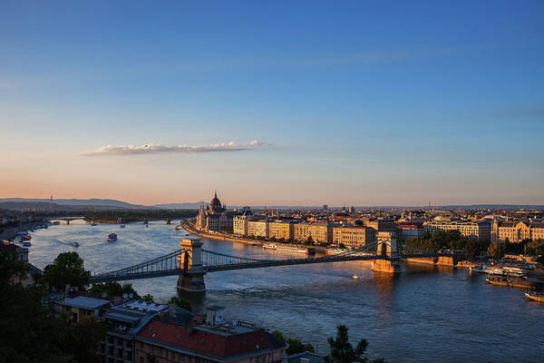 Wall Art - Photograph - City Of Budapest And Danube River At Sunset by Artur Bogacki