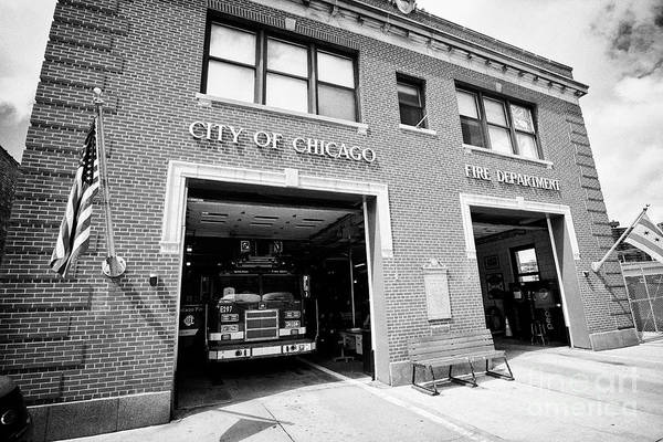 Wall Art - Photograph - City Of Chicago Fire Department Building E8 Building In Chinatown Exterior Of The Firehouse In The M by Joe Fox