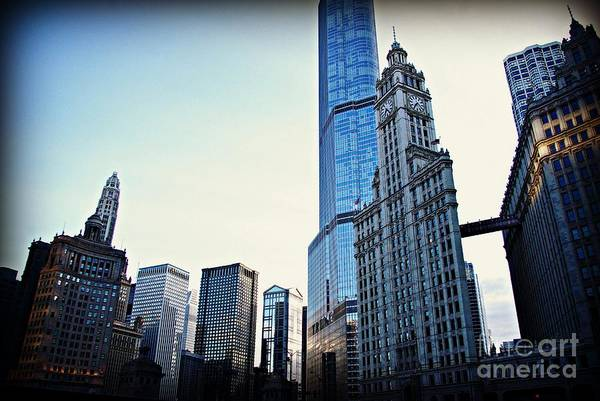 Photograph - City Of Chicago - Skyscrapers At Golden Hour Sunset by Frank J Casella