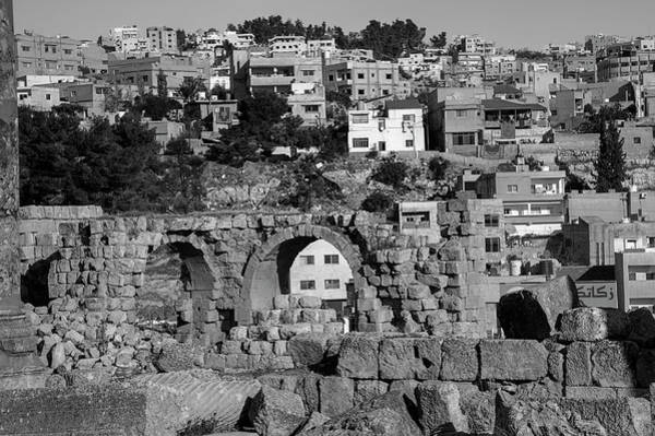 Jerash Photograph - City Of Jerash From The Ruins In Black And White by Nicola Nobile