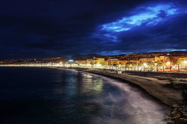 Wall Art - Photograph - City Of Nice Skyline At Night In France by Artur Bogacki