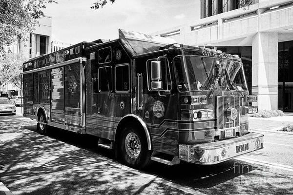 Wall Art - Photograph - city of orlando fire department hazmat vehicle Orlando Florida USA by Joe Fox