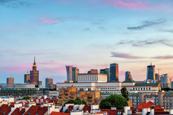 Wall Art - Photograph - City Of Warsaw At Sunset In Poland by Artur Bogacki
