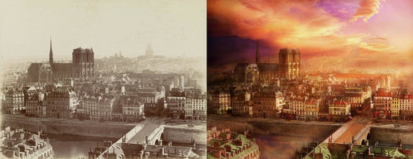 Photograph - City - Paris France - Notre-dame Cathedral 1865 - Side By Side by Mike Savad