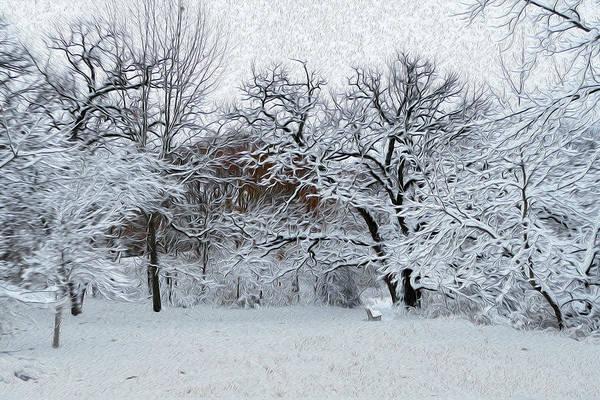 Park Bench Digital Art - City Park Winter Scene by Sandra Johnson