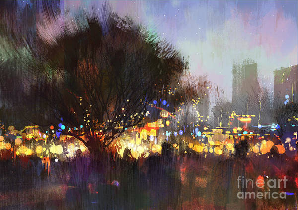 Wall Art - Digital Art - City Park With Crowd Of People At by Tithi Luadthong