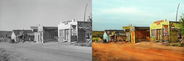 Photograph - City - Questa Nm - The Center Of Town 1939 - Side By Side by Mike Savad