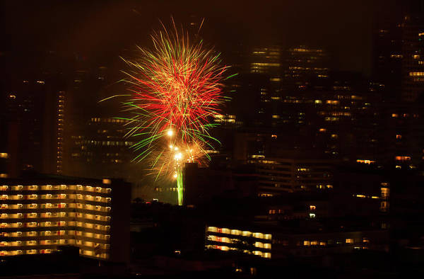 Photograph - City Splash Fireworks by Bonnie Follett