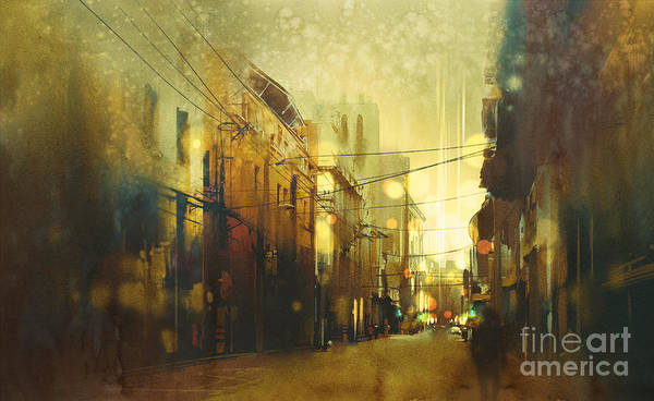 Urban Scene Wall Art - Digital Art - City Street,illustration Painting With by Tithi Luadthong