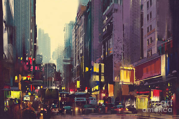 Scenery Digital Art - City Traffic And Colorful Light In Hong by Tithi Luadthong