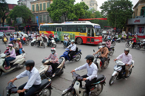 Real People Photograph - City Traffic At Rush Hour, Hanoi by Grant Faint
