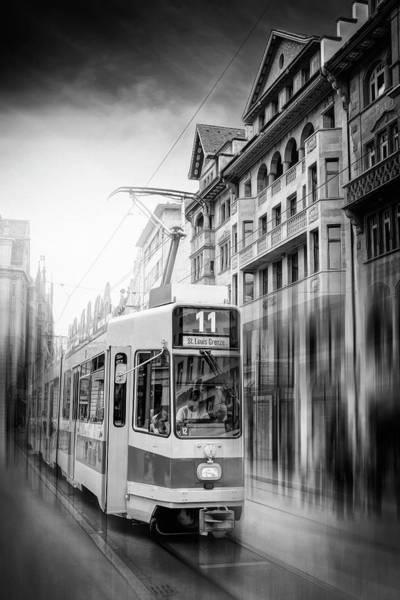 Trolley Car Wall Art - Photograph - City Tram Basel Switzerland Black And White by Carol Japp