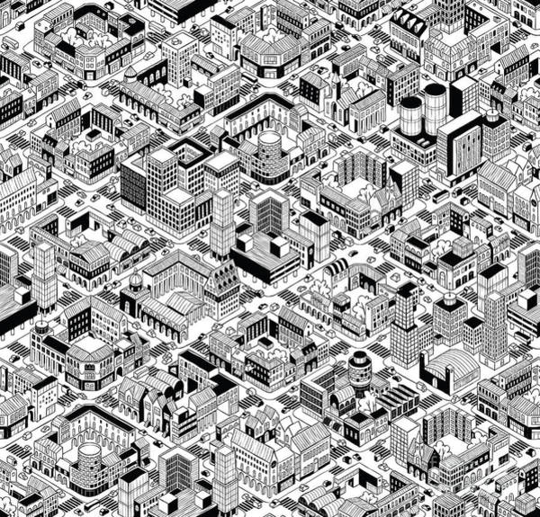 Wall Art - Digital Art - City Urban Blocks Seamless Pattern by Vook