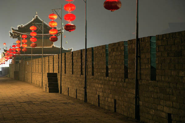 Xi Photograph - City Wall Of Xian Decorated With Red by Sean Caffrey