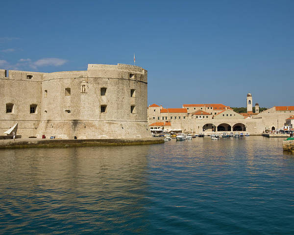 Fortified Wall Art - Photograph - City Walls And Old Harbor, Dubrovnik by Ashok Sinha