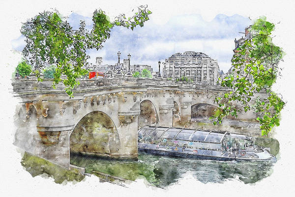 Wall Art - Digital Art - City #watercolor #sketch #city #bridge by TintoDesigns