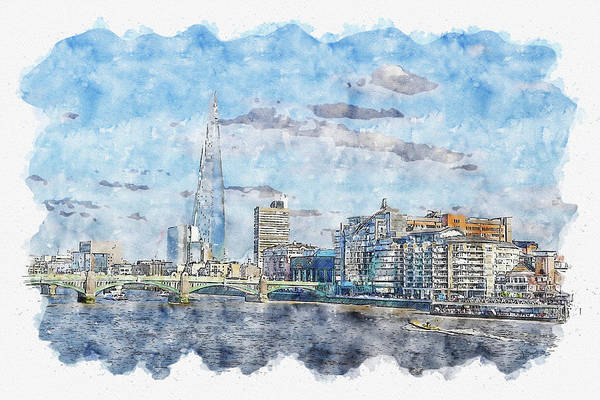 Wall Art - Digital Art - City #watercolor #sketch #city #skyline by TintoDesigns