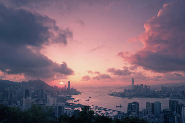 Victoria Harbor Wall Art - Photograph - Cityscape And Victoria Harbor At Sunset by D3sign