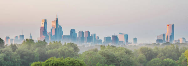 Photograph - Cityscape At Misty Sunrise Philadelphia - Panorama by Bill Cannon