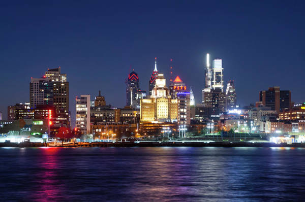 Wall Art - Photograph - Cityscape At Night - View Of Philadelphia by Bill Cannon