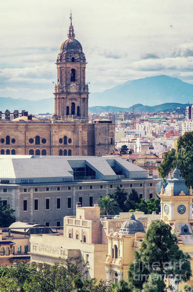 Photograph - cityscape at the Cathedral, City Hall , Malaga by Ariadna De Raadt