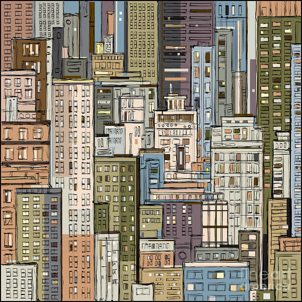 Wall Art - Digital Art - Cityscape.  Hand Drawn Vector by Dahabian