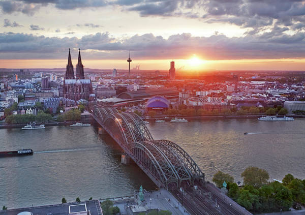 Rhine River Photograph - Cityscape Of Cologne At Dusk by Allan Baxter