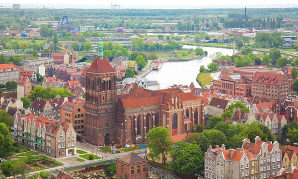 Old Photograph - Cityscape Of Gdansk With Church Of St by Michal Krakowiak