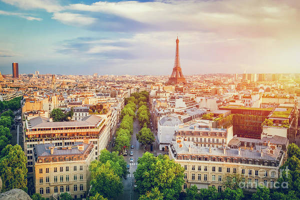 Wall Art - Photograph - Cityscape Of Paris At Sunset. by Michal Bednarek