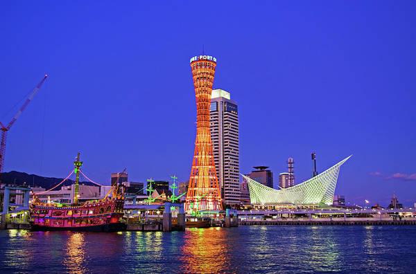 Wall Art - Photograph - Cityscape Of Port Of Kobe At Night by Photography By Zhangxun