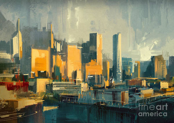 Exterior Wall Art - Digital Art - Cityscape Painting Of Urban Skyscrapers by Tithi Luadthong