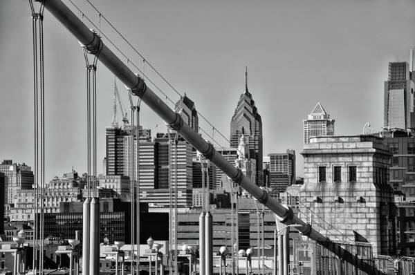 Wall Art - Photograph - Cityscape - Philadelphia From The Benjamin Franklin Bridge In Bl by Bill Cannon